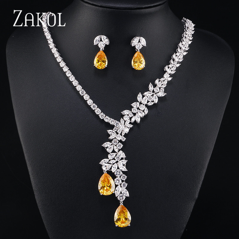 ZAKOL Sparkling Clear Water Drop Cubic Zirconia Earrings Necklace Jewelry Sets For Elegant Bridal Wedding Dinner