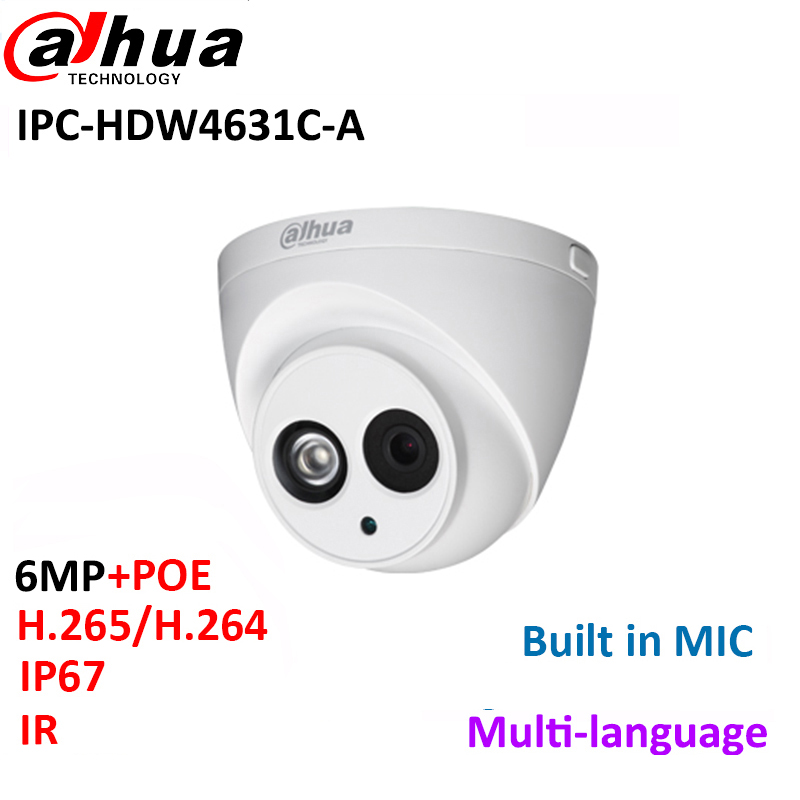 Dahua IPC-HDW4631C-A 6MP IP Camera Built-in MIC IR 30m IP67 network dome Camera HDW4631C-A with poe multi-language firmware dahua 6mp ip camera ipc hdw4631c a poe network camera with built in micro upgrade model of 4mp camera ipc hdw4431c a