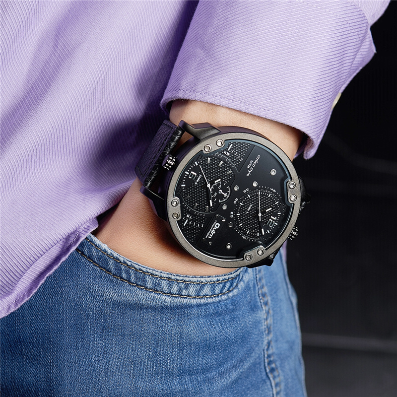 Oulm Men's Casual Sports Watches Unique Design Big Watch Male Leather Strap Quartz Clock Double Time Zone Men Luxury Wristwatch