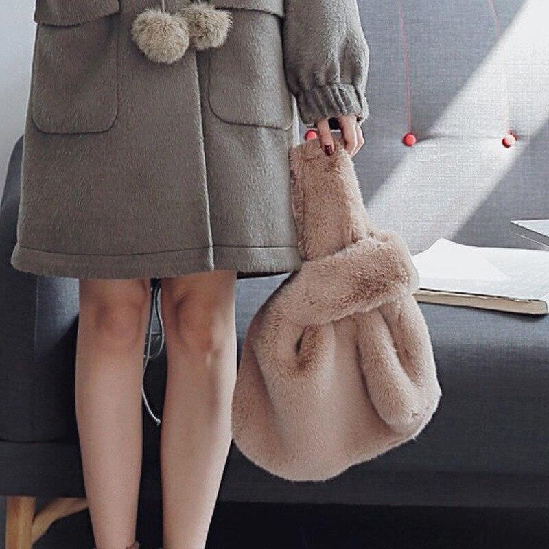 2017 nouveau Style belle mignon femmes dame filles vison cheveux sac à main sac Totes fourrure balle conception épaule Messenger pour les cadeaux de mode