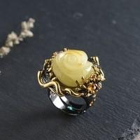 Серебряный инкрустированный пчелиный воск кольца оптом S925 серебрение процесс женские модные аксессуары Роза