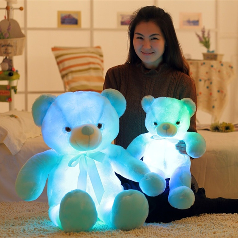 30/50CM Colorful Glowing Luminous Plush Baby Toys  Teddy Bear Lovely Gifts For Kids Lighting Stuffed Bear Plush Toy Xmas Gifts