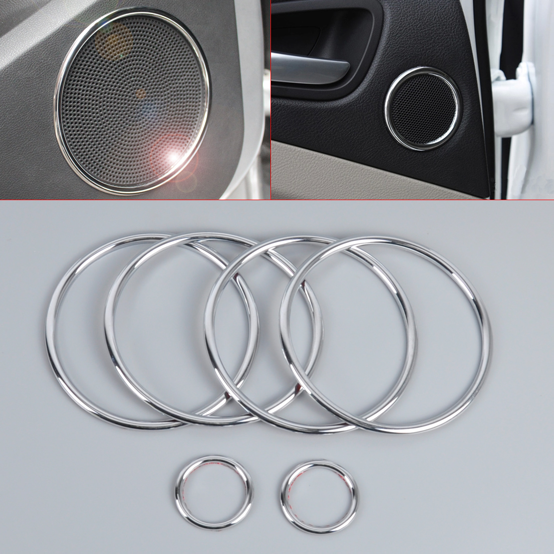 DWCX 6x Car Chrome Audio Speaker Stereo Decorative Ring Cover Loop Decorative Ring Sticker Cover For Ford Kuga Escape 2013 2014