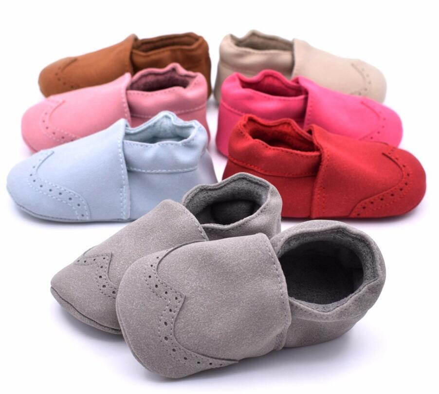 New Flock Leather Baby Moccasins Infants Baby Toddler Shoes Shallow Newborn Bebe Shoes Soft Sole First Walkers Sneakers
