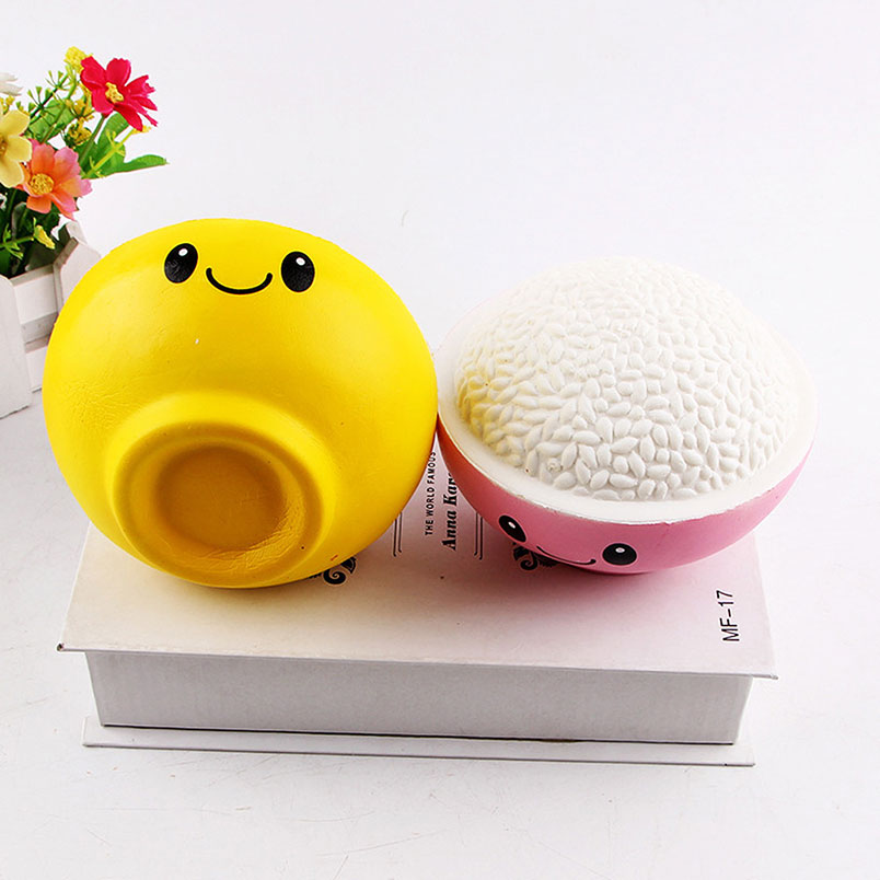Kawaii Antistress Jumbo Rice Bowl Squishy Slow Rising Scented Bread Bun Kids Gift Wholesale Educational Toys For Children Gift