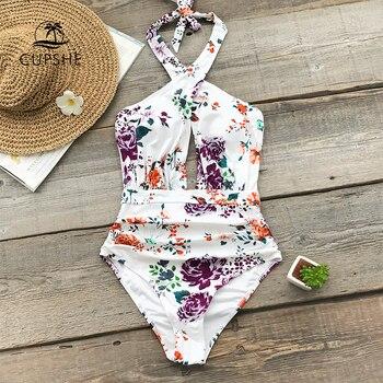 9d080c3ad13c0 CUPSHE цветочный принт с рюшами Холтер цельный купальник женский Крест  Вырез Монокини Купальный костюм 2019 девушка пляжные купальные костюмы