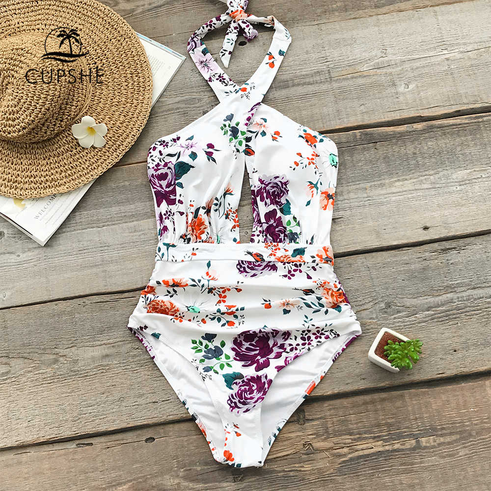 e17bc6c61f4 CUPSHE Floral Print Ruched Halter One-Piece Swimsuit Women Cross Cutout  Monokini Swimwear 2019 Girl