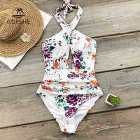 Traje de baño de una pieza con estampado Floral y volantes para mujer, traje de baño con recorte cruzado Monokini, traje de baño de playa para niña 2019