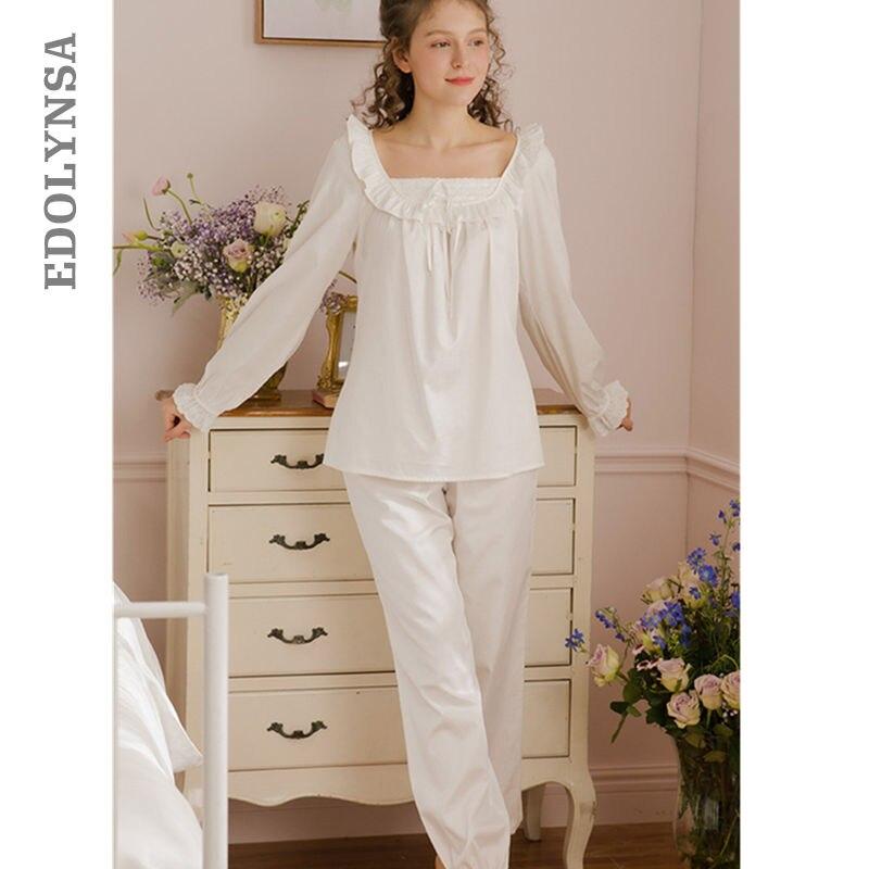 Autumn Winter   Pajama     Set   Two-piece Suit Sleepwear White Cotton Night Wear Comfy Women Home Suit Female Sleep Wear Plus Size T80