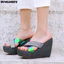 TINGHON Summer Wedge Slippers bling Bling Rhinestone Sandals High Heels Women Outside Shoes Wedge Slipper Flip Flop Sandals все цены