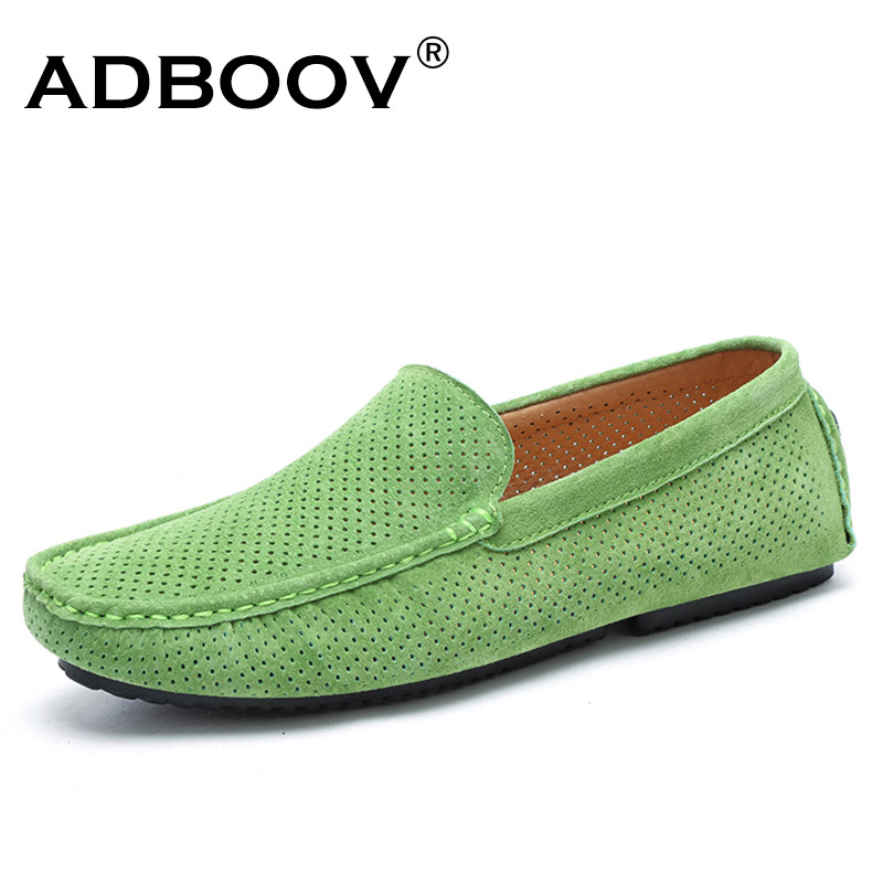 ADBOOV 2018 New Genuine Leather Shoes Men Summer Breathable Casual Loafers Slip On Mens Driving Shoes Mocassin Homme