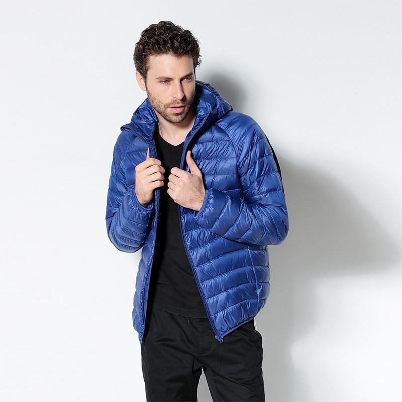 Plus Size Ultra Thin Lightweight Slim Mens Down Jacket Men Hooded Short Design White Duck Down Jackets 2017 Autumn Winter Attractive Fashion Men's Clothing Jackets & Coats