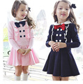Lovely kids Winter clothes casual Girls Dress ruched children clothing 2016 new Peter pan Collar princess dresses school girls