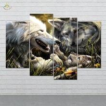 дешево!  Волки Семья Рождение Любовь Малыша Картина И Плакат Живопись на Холсте Современные Wall Art Печать