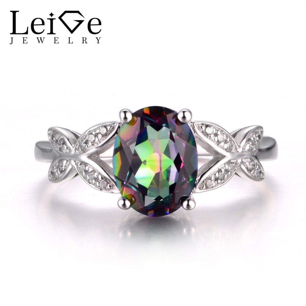 LeiGe Jewelry Real Mystic Topaz Rings Rainbow Topaz Ring Proposal Ring Oval Cut Rainbow Gemstone Ring 925 Sterling Silver Gifts leige jewelry real peridot rings proposal ring oval cut green gemstone ring august birthstone ring 925 sterling silver gifts