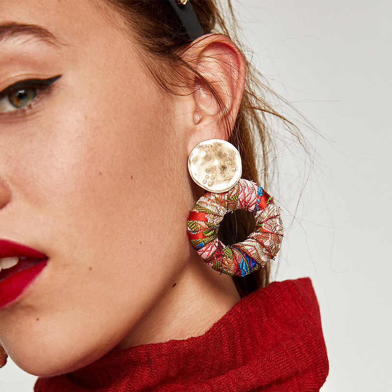 2018 ZA Boho Maxi Earrings Jewelry Ethnic Colorful Design Statement Drop Dangle Earrings For Women Brincos Pendientes