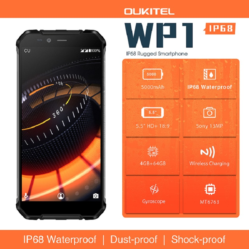 "Image 2 - Oukitel Wp1 Ip68 Waterproof 4gb 64gb 5000mah Mtk6763 Octa Core 5.5"" Hd+ 18:9 Display Wireless Charging Tri proof Smartphone-in Cellphones from Cellphones & Telecommunications"