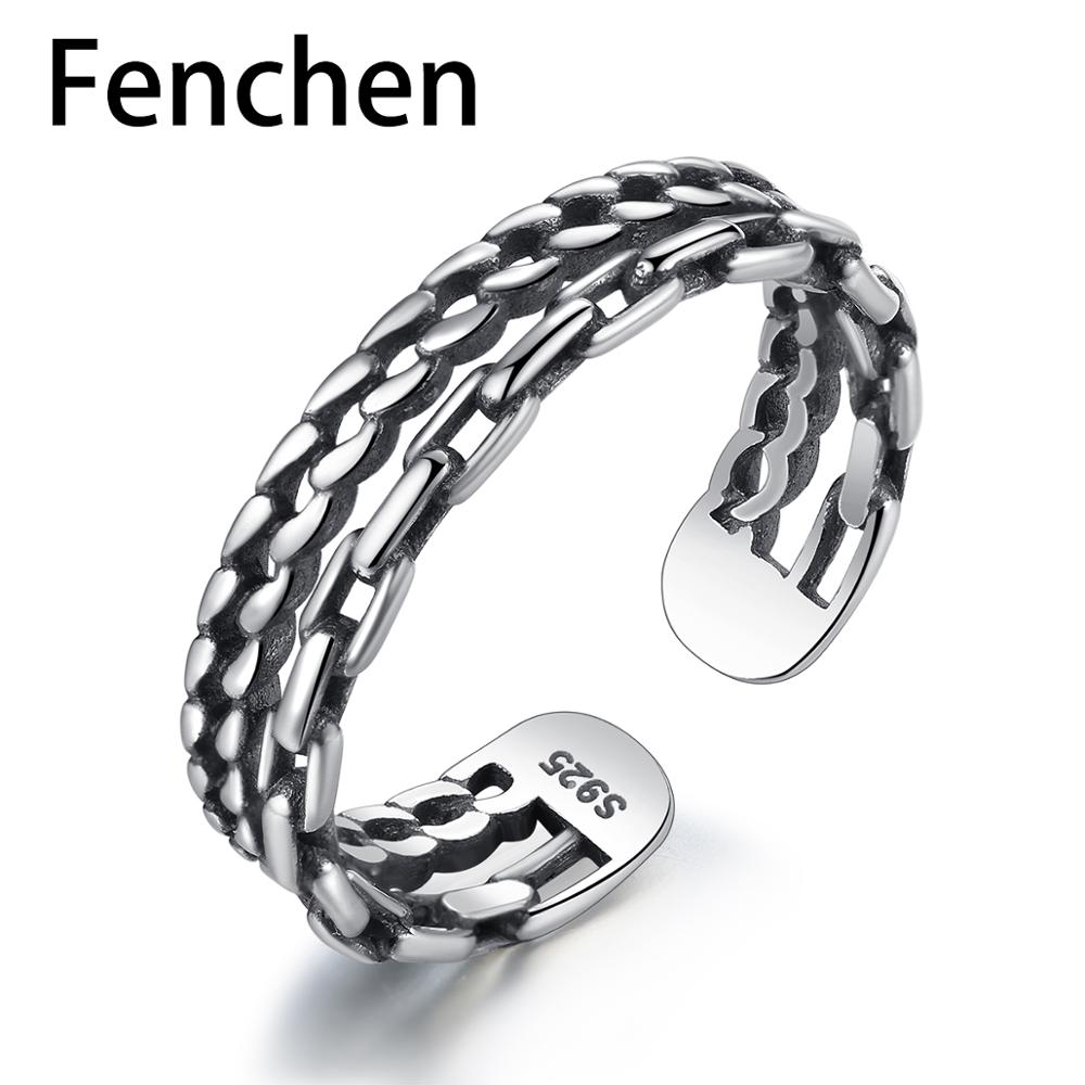 Fenchen Vintage 100% Solid 925 Sterling Silver Rings For Women Anniversary Fine Jewelry Aneis De Prata Bijoux Femme Gifts AR048