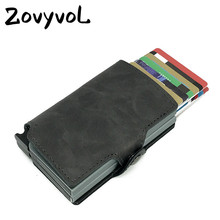 ZOVYVOL 2019 Credit Card ID Holders Metal Wallet Business Automatic Holder Men Leather Cases