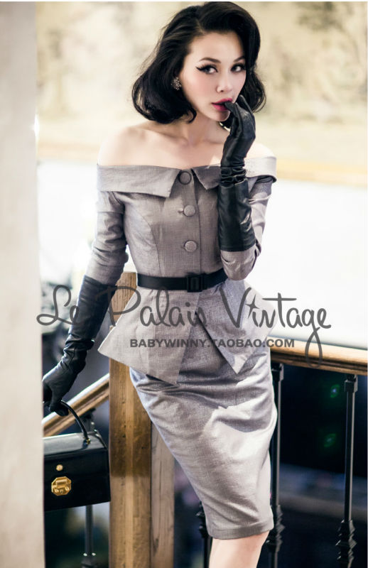 FREE SHIPPING Le Palais Vintage Limited elegant silver classic waist shoulder slim Dress Set