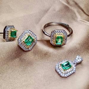 Image 5 - MeiBaPJ Sang Trọng Tự Nhiên Columbia Emerald Đá Quý Đồ Trang Sức Thiết Lập 925 Sterling Bạc 3 Siut Màu Xanh Lá Cây Đá Đồ Trang Sức Mỹ cho Phụ Nữ
