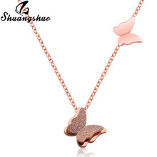 Shuangshuo Rose Color Necklaces For Women Animal Butterfly Pendant Necklace Stainless Steel Long Chain Choker collar Jewelry(China)
