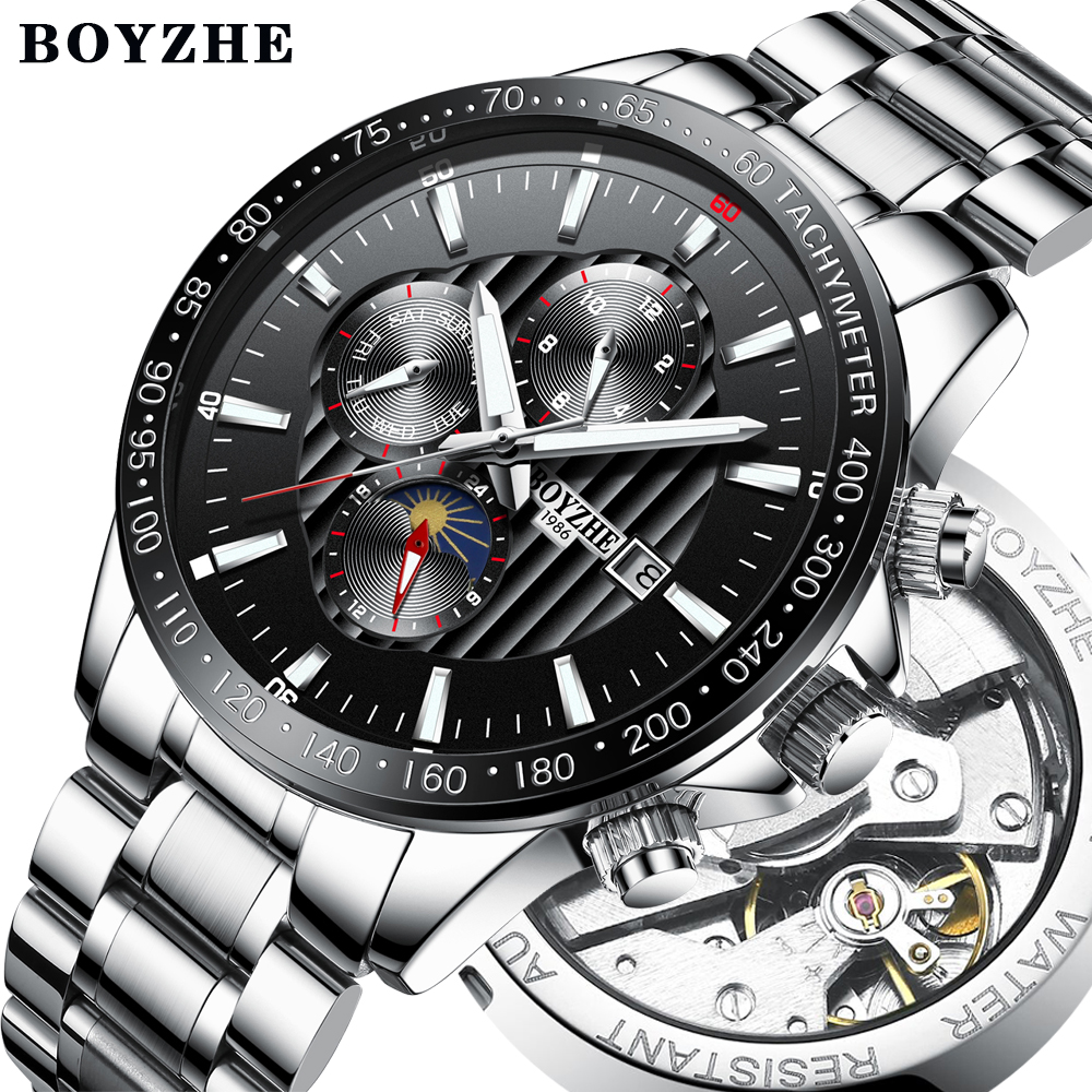Fashion Moon Phase Mechanical Watch Men Stainless Steel Top Brand Luxury Automatic Business Watch Men Clock relogio masculino стиральная машина узкая lg f12u1hbs4