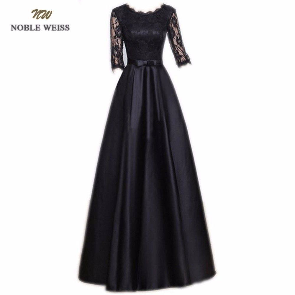 noble weiss floor length black lace evening dress robe de. Black Bedroom Furniture Sets. Home Design Ideas