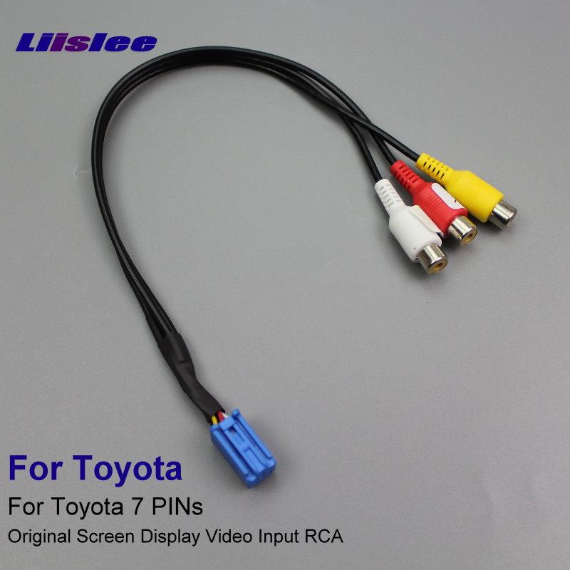 Liislee Oryginalny przełącznik wejścia wideo Złącze adaptera RCA Przewód z kablem przejściowym 7 numerów PIN 3 wejścia AV dla kamery tylnej Toyota