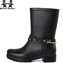 цены wenjie brother new Women Rain water Boots shoes For Ladies Walking Waterproof PVC Women Boots Woman Rainboots