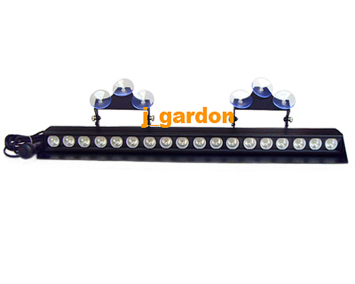 18 LED 3W  Windshield LightBar Red/Blue Emergency Beacon Light Bar Hazard Strobe Warning