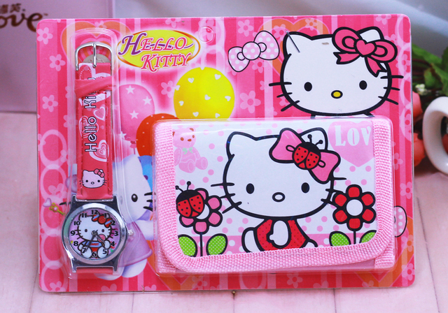 2018 new Free Shipping NEW Classic Cartoon Hello kitty watches Wristwatch and Pu