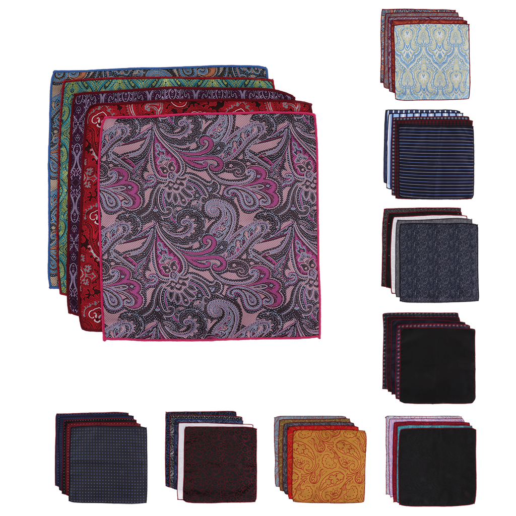 5PCS Silk Pocket Squares For Men Handkerchief Hanky Decorative Suits Hankies