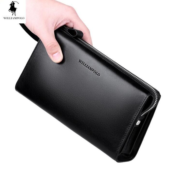 Williampolo Portafoglio pochette in Vera pelle degli uomini di Affari del sacchetto del telefono Mobile portamonete Pelle Bovina