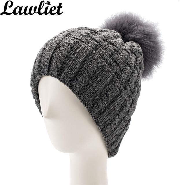 71e7f153e01 Lawliet Women Winter Cap Fur Pom Pom Knitted Hats Acrylic Cable Ladies Hat  Beanies cap Fox