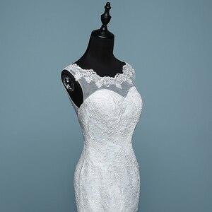 Image 5 - Pure White Ivory Luxury Sexy Backless Mermaid Small Train Lace Wedding Dress 2020 New Fashion A line Appliques Vestido De Noiva