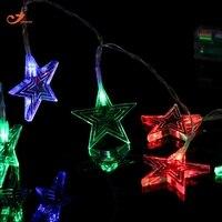 스타 문자열 조명 요정 조명 10LED 배터리 운영 RGB 크리스마스 트리 장식 화환 휴일 빛 홈 파티 바 2 개/