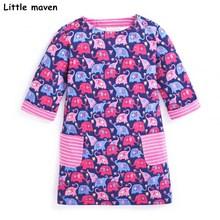 Peu maven enfants marque vêtements 2017 automne bébé filles vêtements Coton elephant imprimer fille A-ligne dépouillé robes de poche S0275