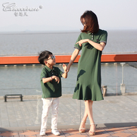 Family Polo T Shirt For Kids Sport Dress For Mother Summer Fashion Mother And Child Clothes