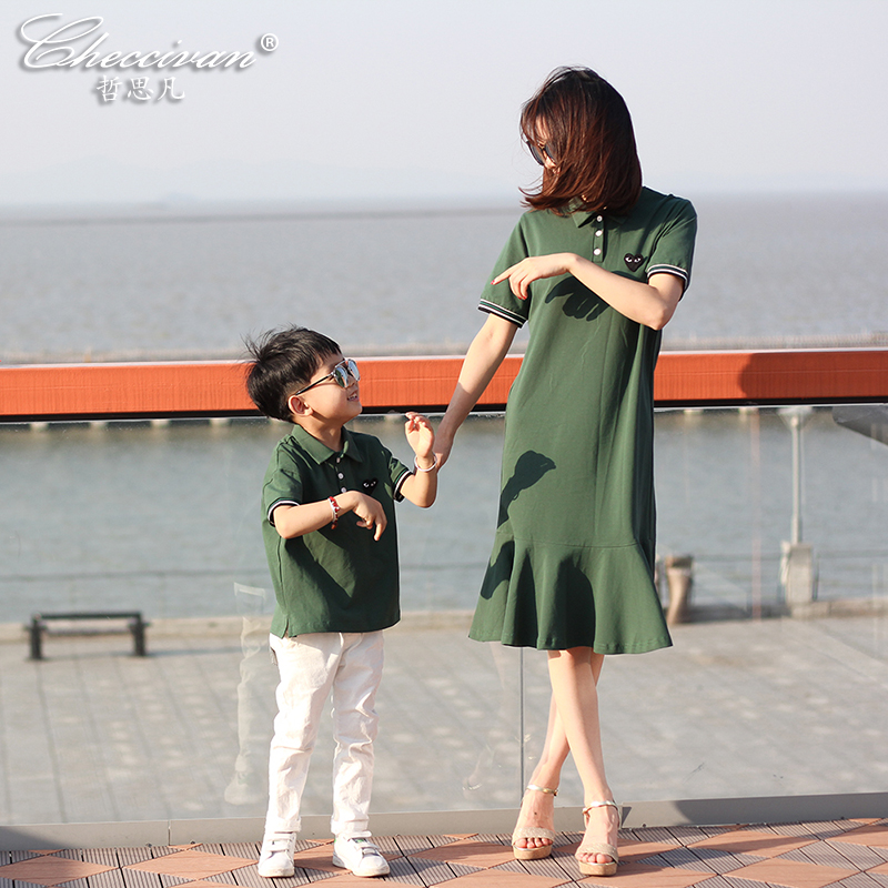 Family Polo T-shirt for kids Sport Dress for Mother Summer Fashion Mother and Child Clothes Green Short Sleeve 0ne-piece Dress family patchwork shirts summer fashion mother and child clothes daughter short sleeve shirt son striped tops kids good outerwear