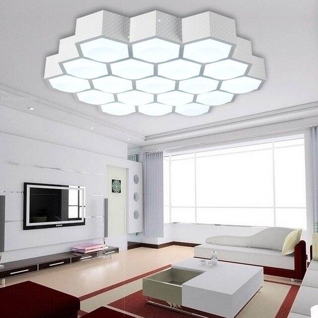 US $123.84 28% OFF|LED moderne einfache wohnzimmer deckenleuchten kreative  waben licht acryl dimmen warmes schlafzimmer deckenleuchte AC100 265V in ...
