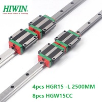 4pcs 100% Original Hiwin Linear Guide Rail HGR15 L 2500mm And 8pcs HGW15CA ( HGW15CC ) Linear Carriage Block CNC Router Parts