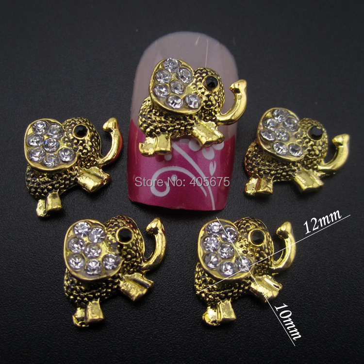 10pcs Silver Gold 3d Design Elephant Nail Art Decorations Jewelry For Nails Beauty Tool Accessories