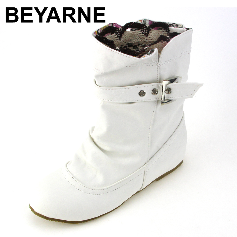 BEYARNE new arrive soft leather ankle boots buckle women boots flats winter shoes ladies female autumn boots black,white,beige