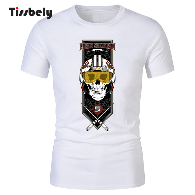 d048e003cf15 Tissbely T-Shirts Men Rogue Squadron Skull Design Printed TeeShirt Short  Sleeve Round Neck Cool White Tops Summer New Style