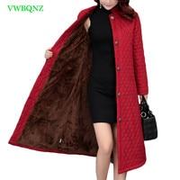 New Plus size Loose Female Jacket Winter Coat Women Printing Cotton Coat Women Elegant Casual Long Wine red Outerwear 4XL A816