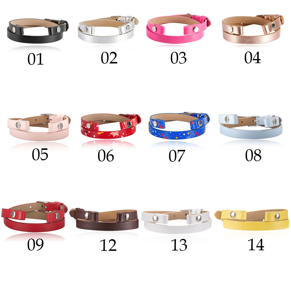 Genuine Leather Wrap Color Leather band bracelet accessories with stainless steel clasp