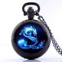 2017 Blue Dragon Pocket Watch Necklace Handmade Glass Dome Jewelry Long Art Photo Necklace Charm Fantasy