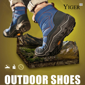 Image 5 - YIGER New Men snow boots winter Man Cotton shoes Zipper Large size 38 46 men leisure hiking shoes Waterproof non slip casual 223