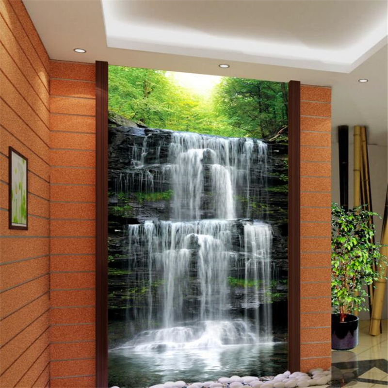 Custom Corridor Entrance 3D Wallpaper Water Long Stream Waterfall Landscape Hotel Lobby Decoration 3d Wallpaper Mural Beibehang